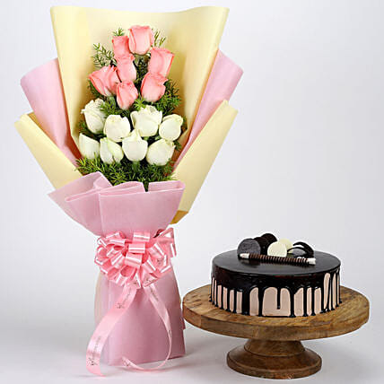 Mixed Roses with Choco Cake Online