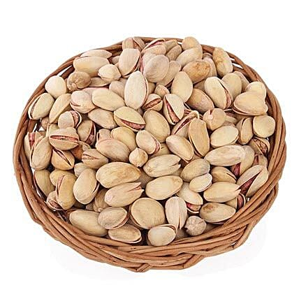 Pistachios Basket-Brown Cane Basket,Pistachios in 200 grams