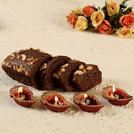 Plum Dry Cake and Diwali Diya Set