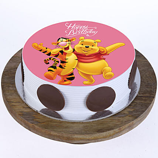 Online Pooh & Tigger Photo Cake For Kids:1st Birthday Cakes