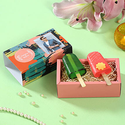 Popsicle Shaped Soaps Personalised Box