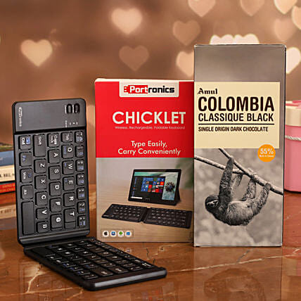 combo of Portronics Wireless Foldable Key Board & Amul Chocolate
