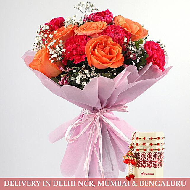 Rakhi and Flower Bouquet for Bhaiya Bhabhi:Rakhi Gifts For Bhaiya Bhabhi