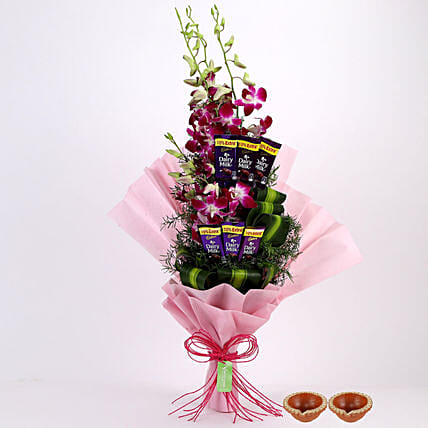 floral with chocolate combo basket for diwali