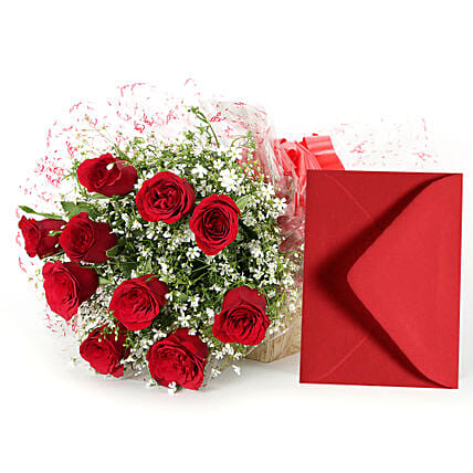 Red roses bouquet:Flowers & Cards - Karwa Chauth