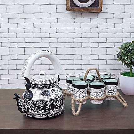 Premium Handpainted Kettle And 6 Glasses With Stand