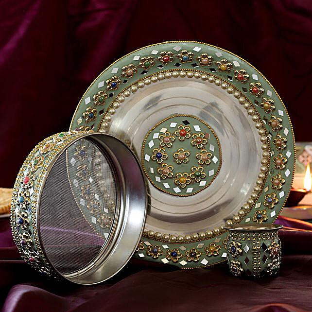 Premium Kundan Stone Karwa Chauth Thali Set