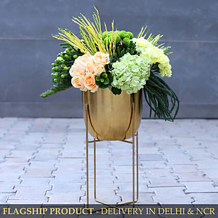 Premium Mixed Flower Arrangement With Iron Stand