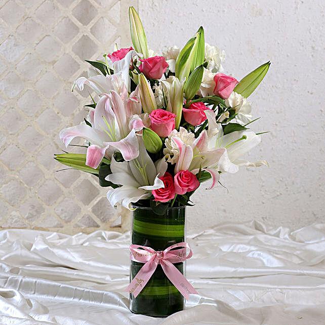 Premium Mixed Flowers Vase