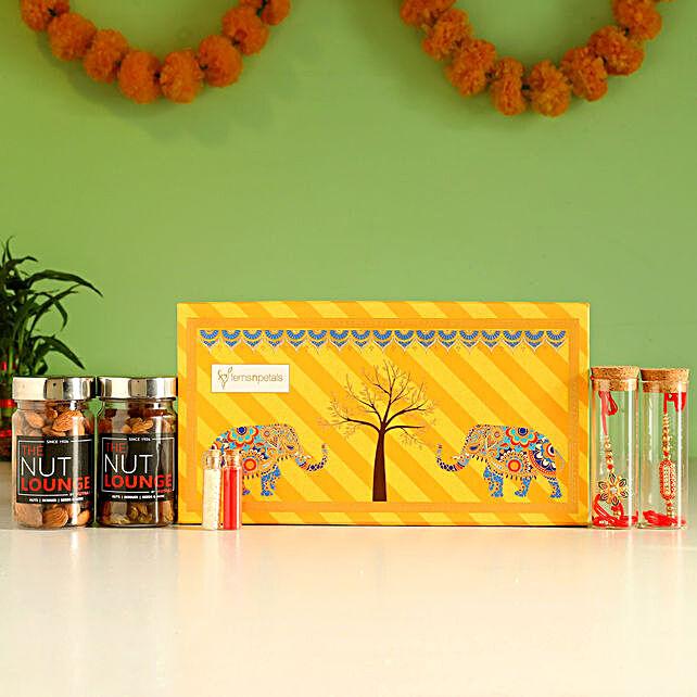 Premium Nok-Jhonk Orange Rakhi Box & Dry Fruits
