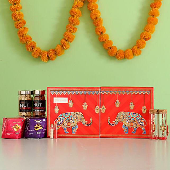 Meenakari Rakhi with Designer Snacks Box