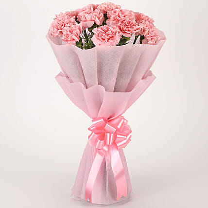 Pink Combination - Bunch of 10 Pink Carnations in pink paper packing.:Flowers for Women's Day