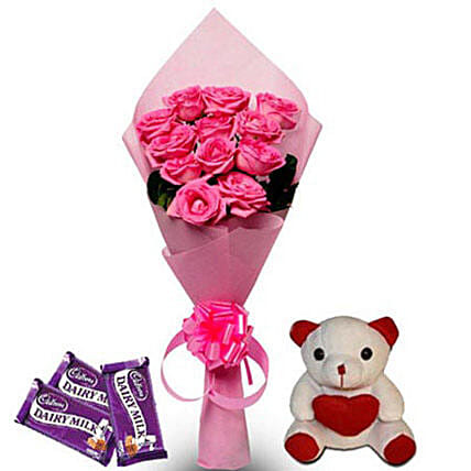 Pretty Pink hamper - Bunch of 12 Pink Roses in Pink color paper packing, 6 inch height  and 3 Cadbury dairy milk chocolate of 38gms each.:Send Roses And Teddies