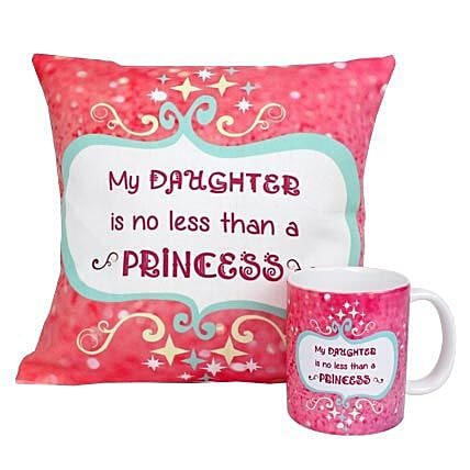 Princess Daughter Cushion and Mug-Pink Coloured,Cushion 12X12 And Mug