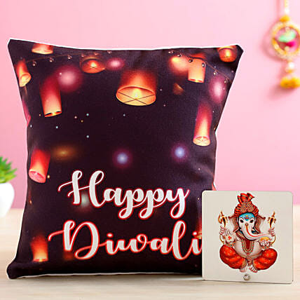 Printed Happy Diwali Cushion & Ganesha Table Top- Hand Delivery
