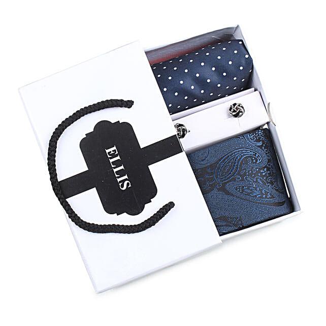 Blue Tie Set for Him:Fashion Accessories