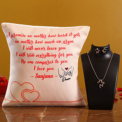 Promise Day Personalised Cushion and Necklace Set Hand Delivery:Promise Day Combos