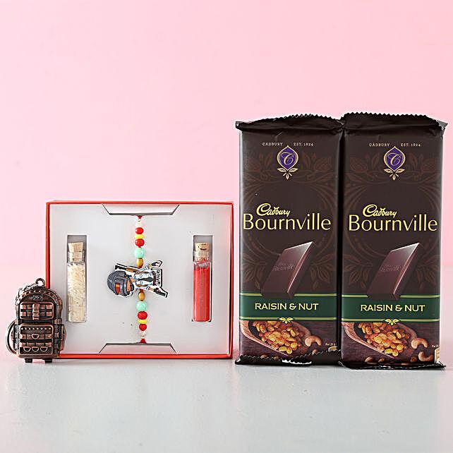 Keychain, Rakhi and Chocolate Combo