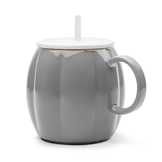 Pumpkin Shaped Grey Mug With Lid Spoon