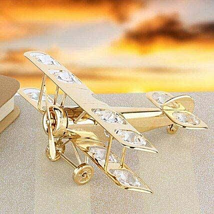 Swarovski golden aeroplane:Gold Plated Gifts