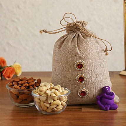 Online Purple Ganesha Idol & Dry Fruits In Jute Potli