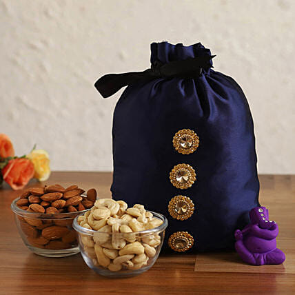 Online Purple Ganesha Idol With Dry Fruits Potli