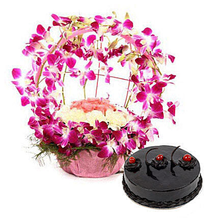 Purple Orchid n Cake Passion - Bouquet of 12 orchids, 10 white carnations and 6 pink rose and half kg  truffle cake.