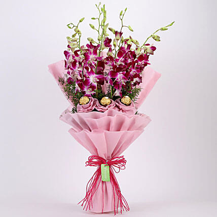 Online Purple Orchids and Ferrero:Flowers Combo for Mothers Day