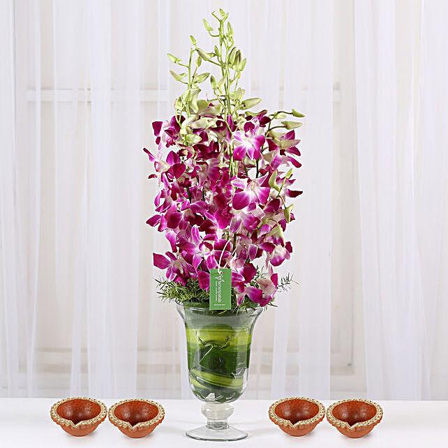 Flower Arrangement with Diya for Diwali Online