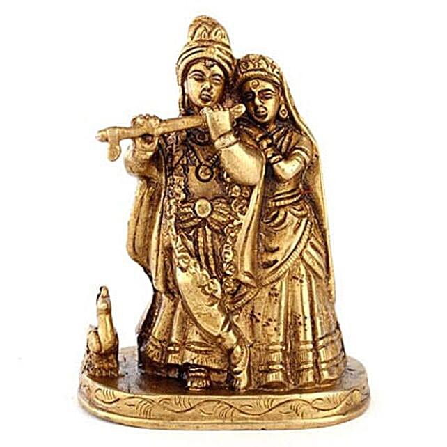 Radha Kishan Statue-4 inches Brass Radha Kishan Statue
