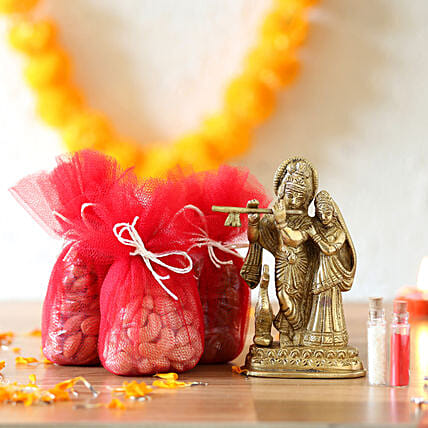 krishan brass idol with dry fruit combo online:Send Janmashtami Gifts