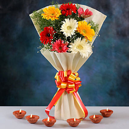 Tied With Mixed Color RibbionsRadiant Mixed Gerberas Bouquet & Clay Diyas