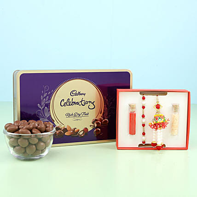 set of 2 rakhi for bhaiya and bhabhi with chocolate online:Rakhi Gifts to Kozhikode