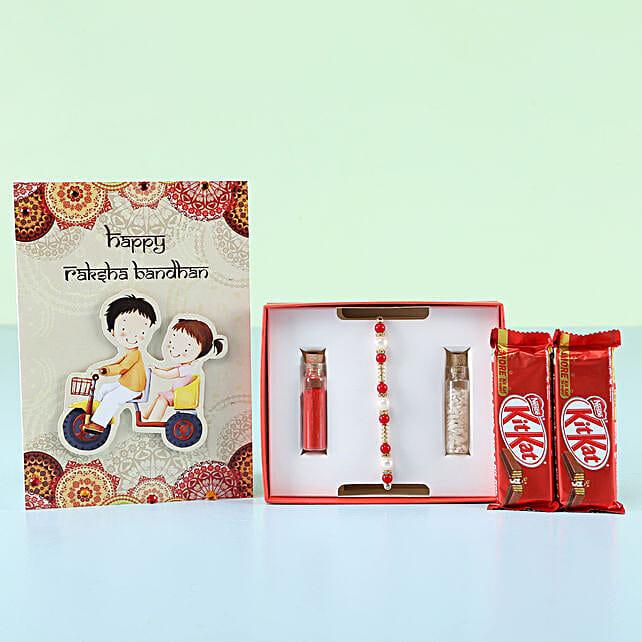 sweet rakhi combo online:Rakhi With Greeting Cards
