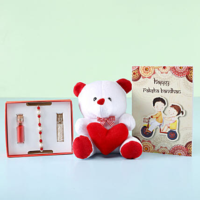 auspicious rakhi greeting n teddy bear online