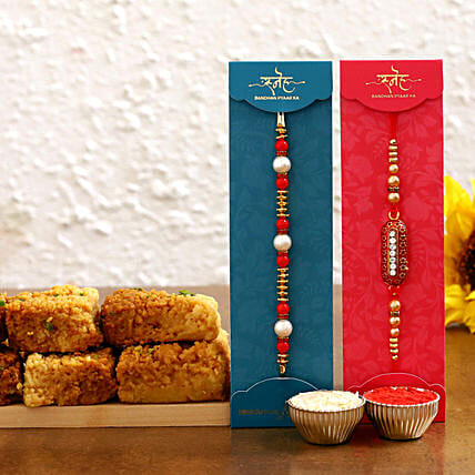Rakhi Set & Milk Cake:Rakhi With Sweets