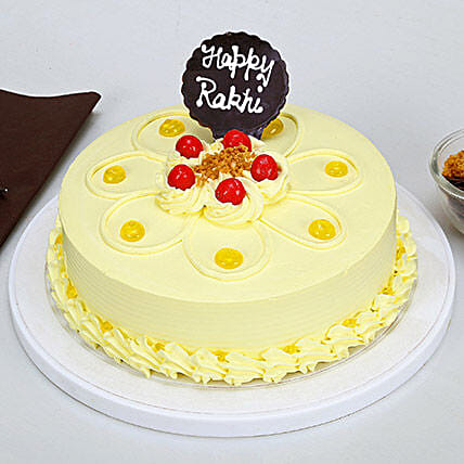 Rakhi with Butterscotch Cake:Gifts Delivery In Ramamurthy Nagar