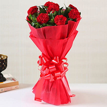 Online Ravishing Red Carnations:Bunch of Flowers