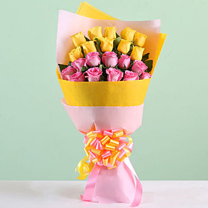 Multicolour Roses Bouquet Online:Bunch of Flowers