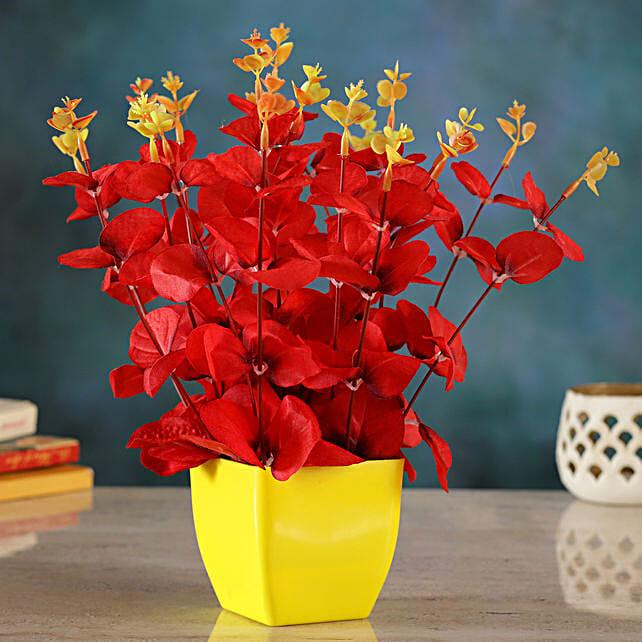 Red Artificial Huckleberry Floral Vase