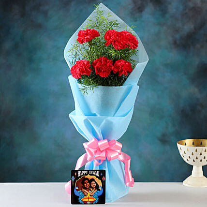 online carnation bouquet with personalised diwali cushion