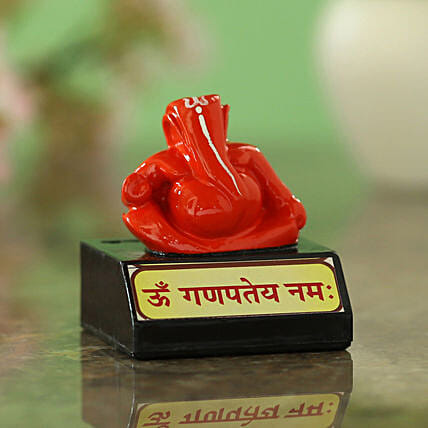 online Red Ganesha Idol On Stand