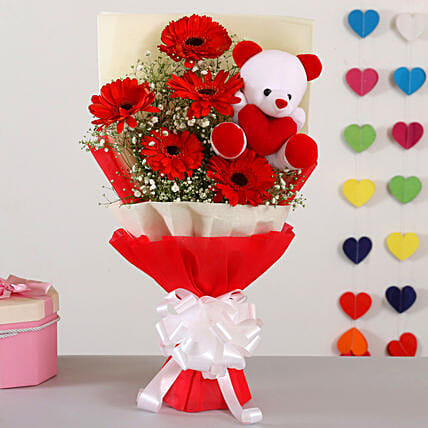 Red Gerberas Bouquet With Teddy Bear:Flower N Teddy