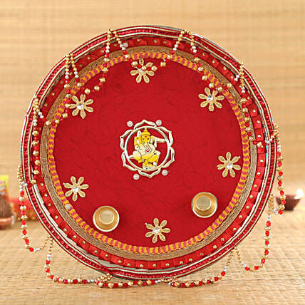 Red & Golden Tassel Pooja Thali