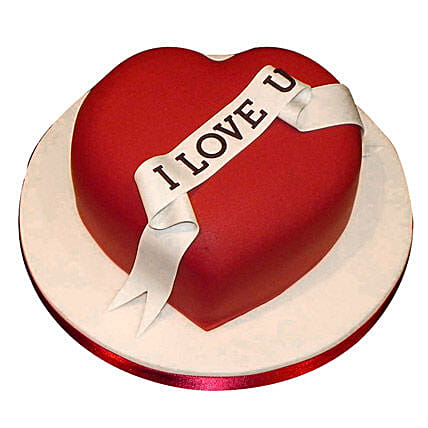 Red Heart Love You Cake 1kg:Heart Shaped Gifts