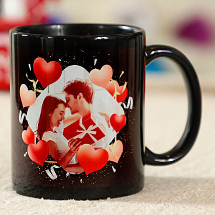 Red Hearts Personalised Black Mug