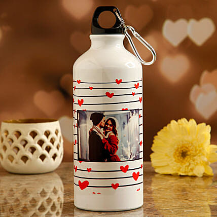 printed valentine day water bottle