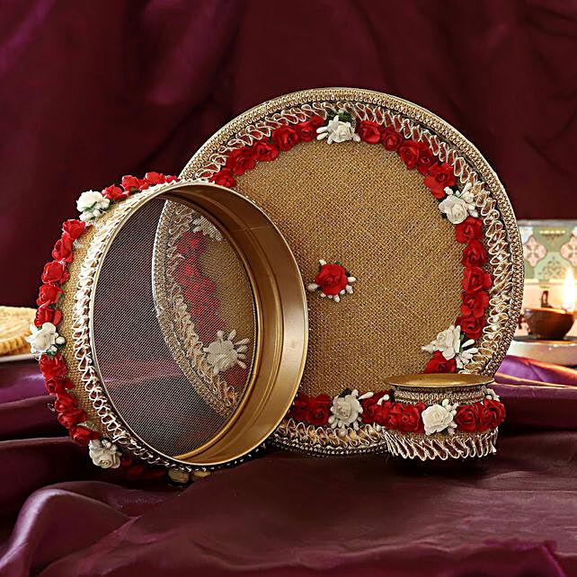 Red Jute Flowers Karwa Chauth Thali Set