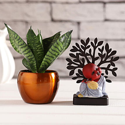 Red Monk Idol & Sansevieria Plant:Diwali Gifts for Him