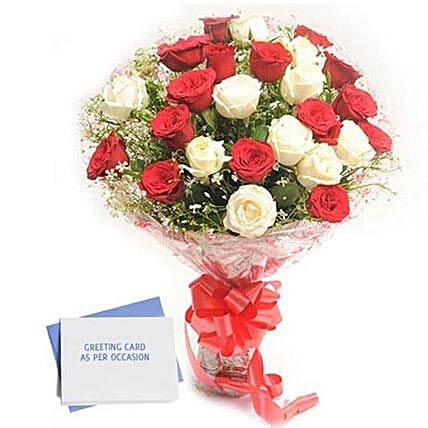 Red N White Roses - Bunch of 30 Red and  Roses & greeting card.